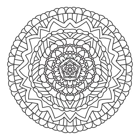 Circular Symmetrischen Ethnische Muster. Mandala Färbung Auf Weißen ...