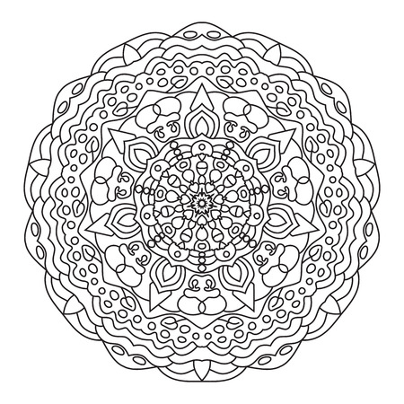 visionary: Circular symmetric ethnic pattern. Mandala coloring isolated on white background.