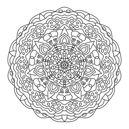 Circular symmetric ethnic pattern. Mandala coloring isolated on white background.