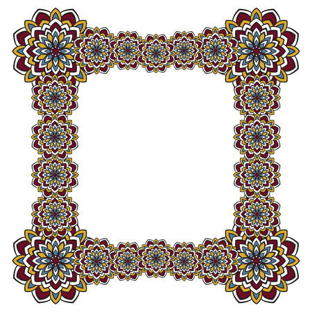 Cadre carré de fleurs abstraites sur un fond blanc