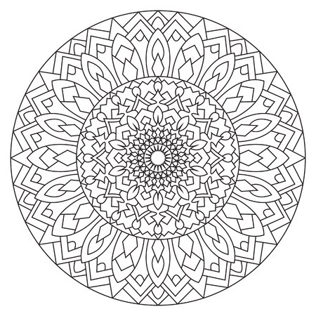 eastern: Circular pattern in ethnic style. Eastern symmetrical mandala. Illustration