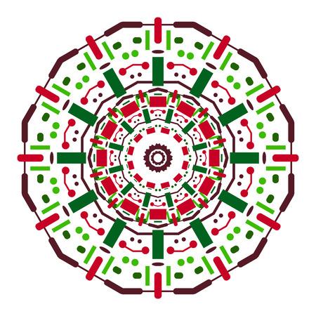 etnia: Color mandala simétrica a partir de formas geométricas simples