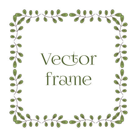 Square frame with green leaves and branches, isolated on white background.