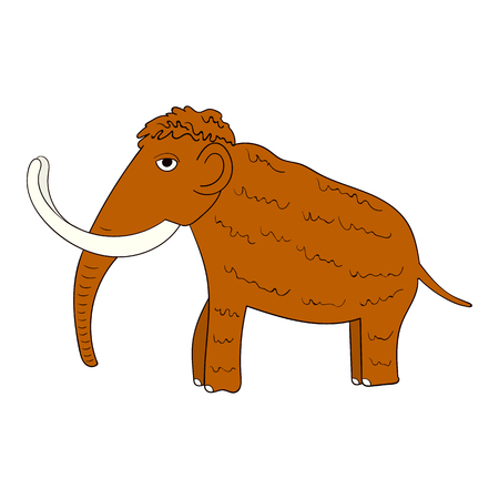 zoological: Picture of a mammoth ice age isolated on white background Illustration