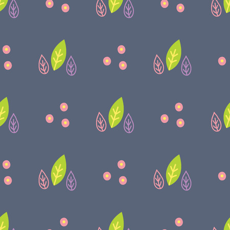 everlasting: Seamless pattern with painted leaves on a dark background