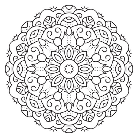 Symmetrical circular pattern mandala. Decorative Oriental pattern. Coloring page for adults.