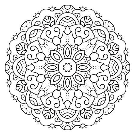 Symmetrische kreisförmigen Muster Mandala. Dekorative orientalische Muster. Malvorlage für Erwachsene. Standard-Bild - 54307019