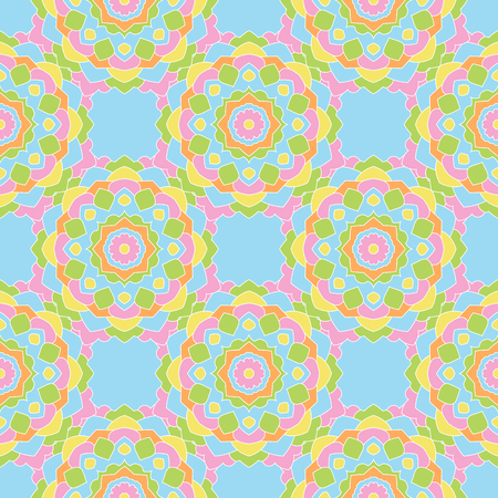indefinite: Seamless pattern of colored round mandalas. Wallpaper design, paper, fabric. Illustration
