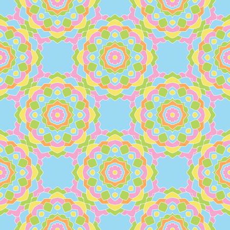 indefinite: Seamless pattern of colored round mandalas. Wallpaper design, paper, fabric. Illustration