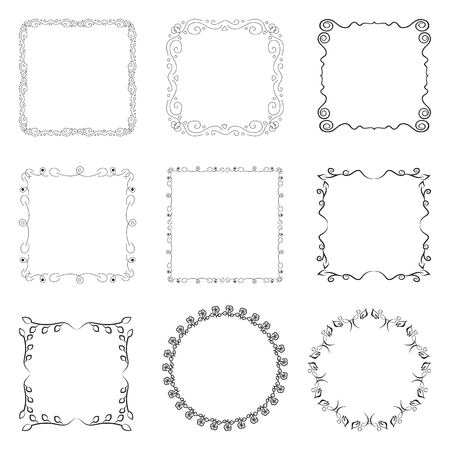 square: Set of square and round frames. Collection of decorative elements for design.