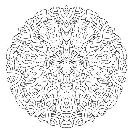 twirling: Symmetrical circular pattern mandala. Oriental pattern. Coloring page for adults. Turkish, Islamic, Oriental ornament Illustration