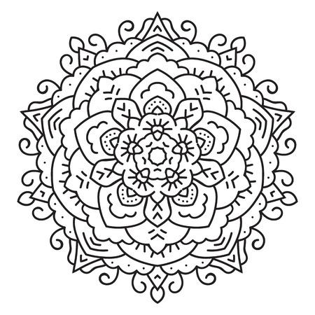 etnia: Simétrica mandala patrón circular. Modelo oriental. Dibujo para colorear para los adultos. ornamento turco, islámico, Oriental