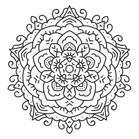 ethnicity: Symmetrical circular pattern mandala. Oriental pattern. Coloring page for adults. Turkish, Islamic, Oriental ornament Illustration