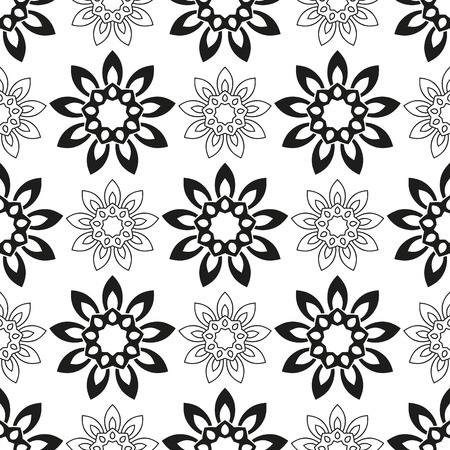 indefinite: Seamless pattern with black flowers on a white background.