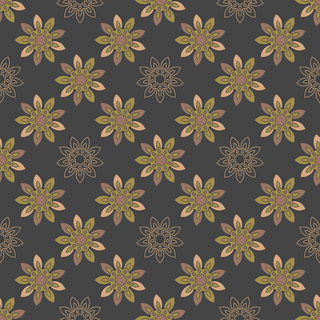 Seamless repeating pattern with colored abstract flowers on a black background. Illustration