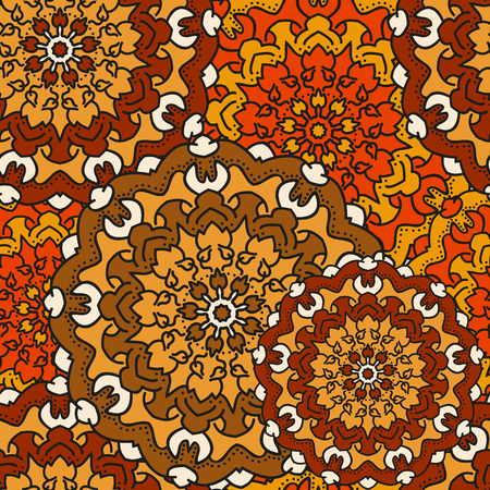 indefinite: Seamless background of circular patterns colored mandalas. Illustration
