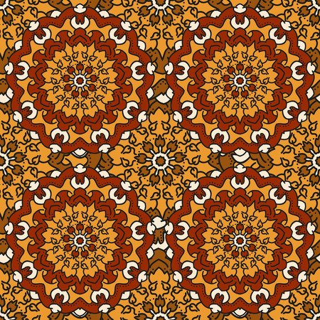 uninterrupted: Seamless background of circular patterns colored mandalas. Illustration