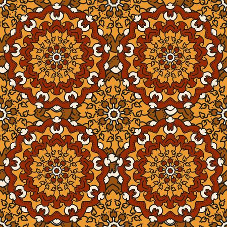 Seamless background of circular patterns colored mandalas. Illustration