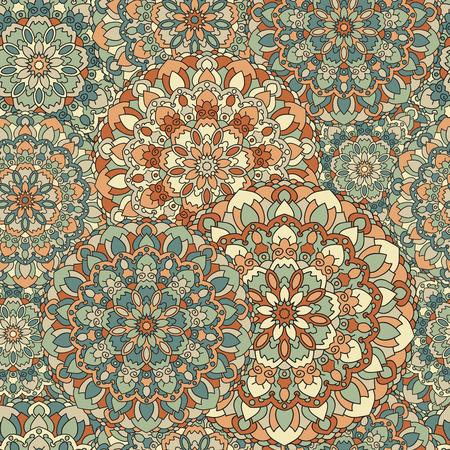 everlasting: Seamless background of circular patterns colored mandalas. Illustration