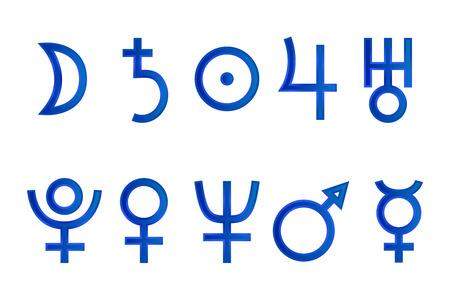 analogy: Set of icons symbols planets isolated on white background. Illustration