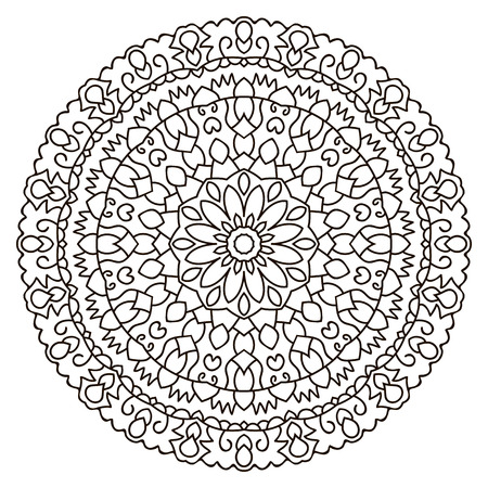 Symmetrical circular pattern mandala. Oriental pattern. Coloring page for adults. Vector Illustration