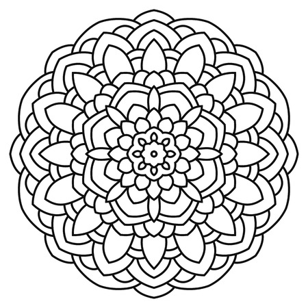 arab adult: Mandala for painting and coloring. Circular symmetrical pattern in ethnic style.