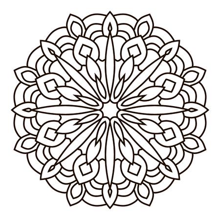 左右対称の円形パターンのマンダラ。東洋のパターン。大人のための着色のページ。トルコ, イスラム, 東洋の飾り