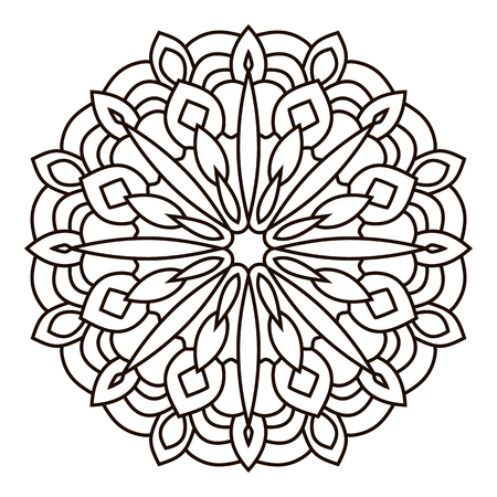 Symmetrische cirkelpatroonmandala. Oosters patroon. Kleurplaat voor volwassenen. Turkse, islamitische, oosterse versiering Stock Illustratie