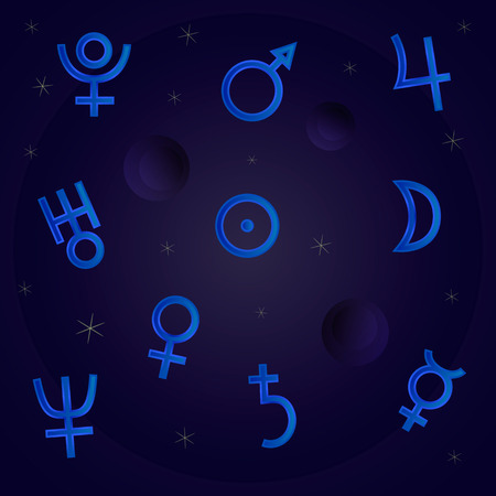analogy: Symbols of the planets in the night sky with the stars.