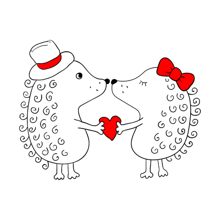 Love hedgehogs on white background. Greeting card for Valentines day.