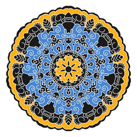 eastern: Eastern ethnic color mandala. Round symmetrical pattern. Illustration