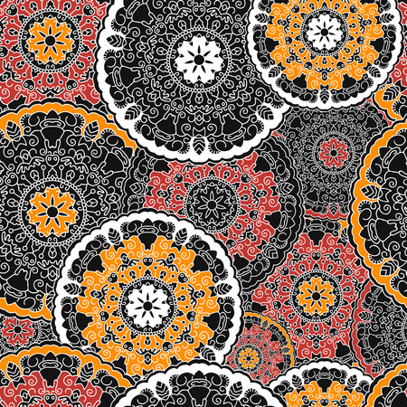 mandalas: Seamless background with circular symmetrical mandalas. Texture to print on fabric, Wallpaper, clothes.