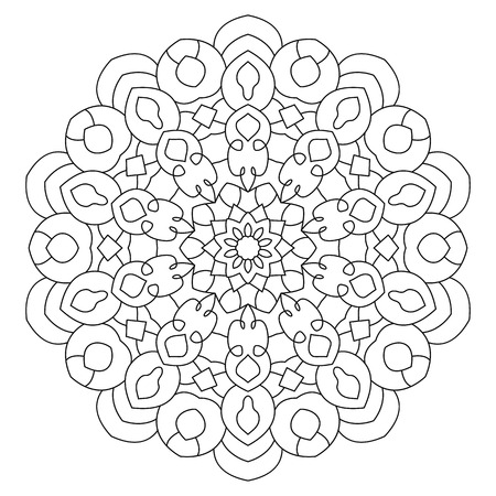 symmetrical: Eastern ethnic mandala. Round symmetrical pattern. Coloring book for adults.