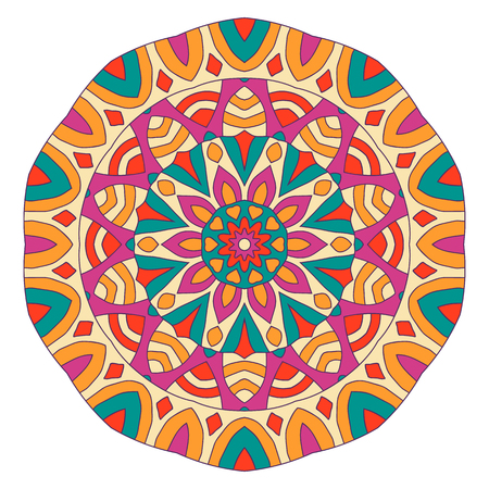 symmetrical: Eastern ethnic color mandala. Round symmetrical pattern. Illustration