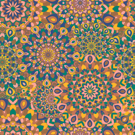 Gypsy seamless pattern. Texture with round colored Eastern mandala. Illustration