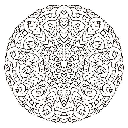 Mandala for coloring book, circular ethnic ornament. Round Oriental pattern Illustration