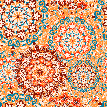 Seamless pattern with symmetrical mandalas. Ethnic texture in Greek, Turkish, Islamic style