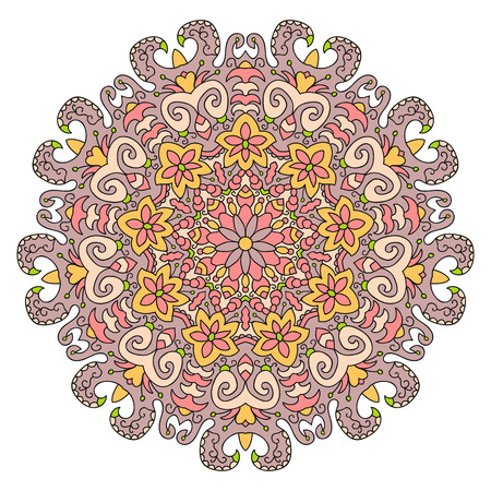 Ethnic mandala design, vector Eastern pattern, round symmetrical ornament.