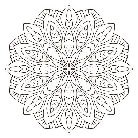 Floral geometric pattern, Ethnic circular mandala