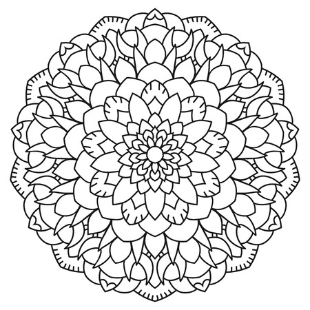Round outline Mandala for coloring book. Vintage decorative elements Illustration