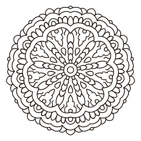 Vector mandala, India ornament. Ethnic symmetrical pattern on white background Illustration