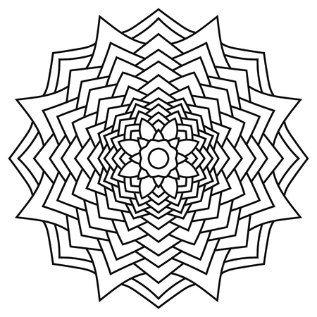 Round Outline Mandala For Coloring Book. Vintage Decorative Elements ...