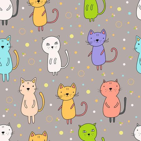 Seamless pattern with cartoon cats on a gray