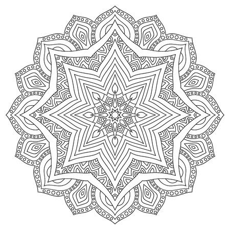 Eastern ethnic mandala. Round symmetrical pattern. Coloring Illustration
