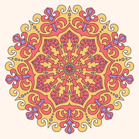 Color mandala vector ethnic pattern, round symmetrical