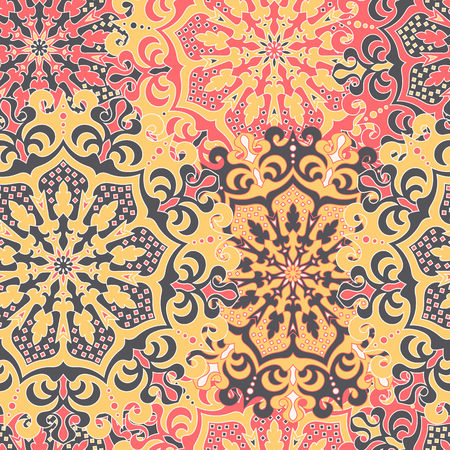 Seamless pattern with symmetrical mandalas. Ethnic texture in Illustration