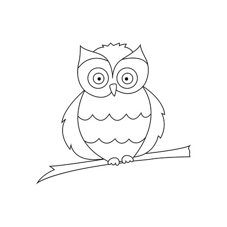 Owl sitting on a branch are drawn with thin lines