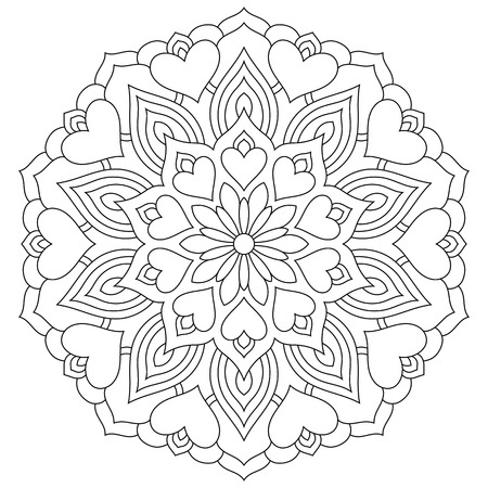 Flower mandala with hearts. Coloring page for Valentines Illustration