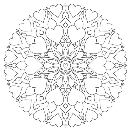Mandala with hearts on a white background. Coloring book page Illustration
