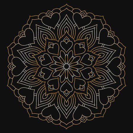 Golden mandala with hearts on a dark background. Circular